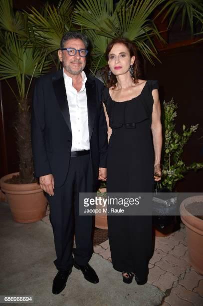 Sergio Castellitto and Margaret Mazzantini attend Fondazione Prada Private Dinner during the 70th annual Cannes Film Festival at Restaurant Fred...