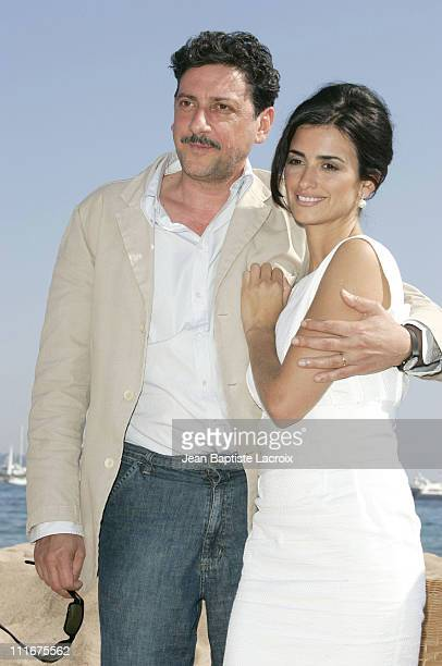 Sergio Castellitto and Penelope Cruz during 2004 Cannes Film Festival 'Non Ti Muovere' Photocall at Coste Beach in Cannes France