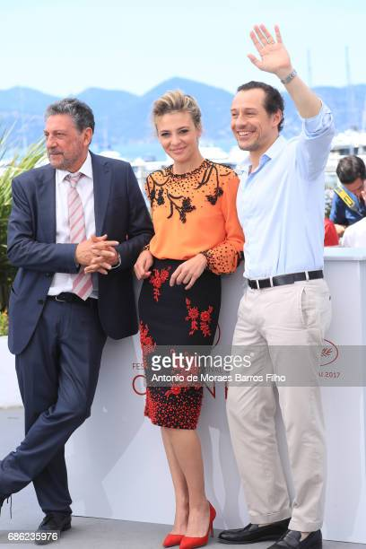 Sergio Castellitto Jasmine Trinca and Stefano Accorsi attend the Fortunata Photocall during the 70th annual Cannes Film Festival at Palais des...
