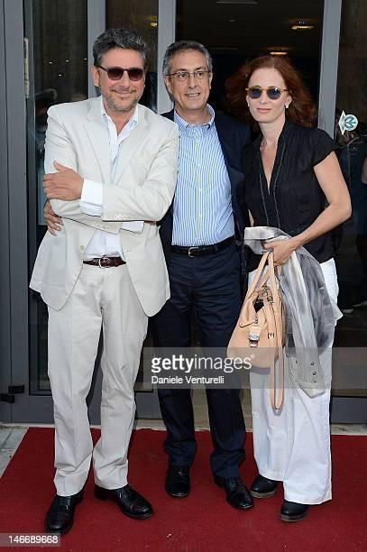 Sergio Castellitto Mario Sesti and Margaret Mazzantini attend the 'Premio Cariddi Alla Famiglia Castellitto' during the 58th Taormina Film Fest on...