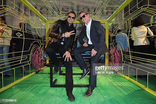 Sergio Cerruti and designer Benedict Radcliffe attend the Benedict Radcliffe wireframe design installation inspired to Range Rover Evoque at the...