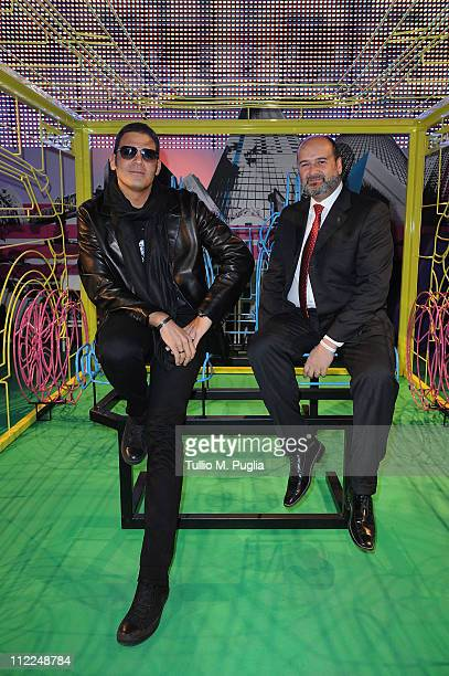 Sergio Cerruti and General manager of Land Rover Italy Arturo Frixa attend the Benedict Radcliffe wireframe design installation inspired by Range...