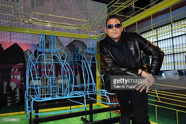 Sergio Cerruti attends the Benedict Radcliffe wireframe design installation inspired by Range Rover Evoque at the Opificio 31 during Milan Design...