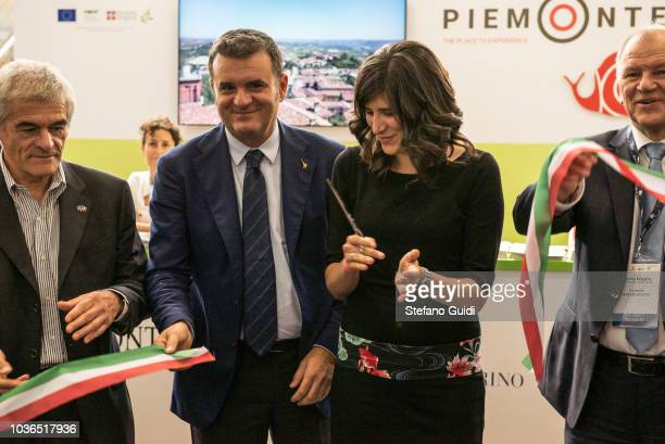 Sergio Chiamparino Gian Marco Centinaio Chiara Appendino Vytenis Andriukaitis and Carlo Petrini during during the ribbon cutting for the inauguration...
