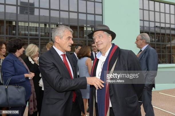 Sergio Chiamparino president of the Piedmont Region togheter with South African artist William Kentridge during the OGR Institutional Night on...