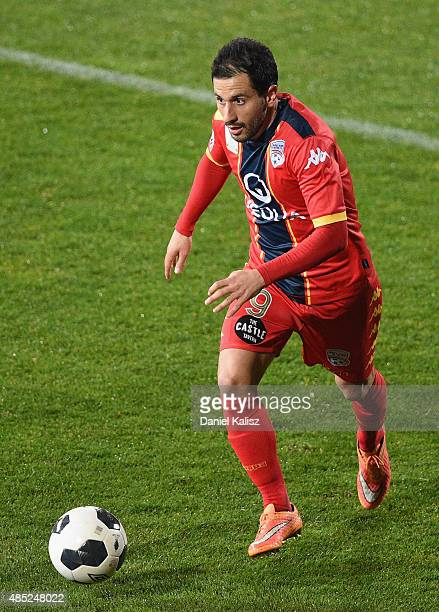 Sergio Cirio of United controls the ball during the FFA Cup Round of 16 match between Adelaide United and Sydney FC at Coopers Stadium on August 26...