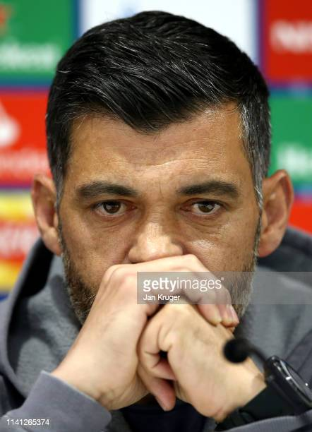 Sergio Conceicao manager of FC Porto reacts during the FC Porto Press Conference ahead of there UEFA Champions League Quarter Final First Leg against...
