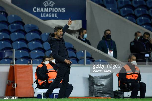 Sergio Conceicao, manager of FC Porto reacts during the UEFA Champions League Group C stage match between FC Porto and Olympique de Marseille at...