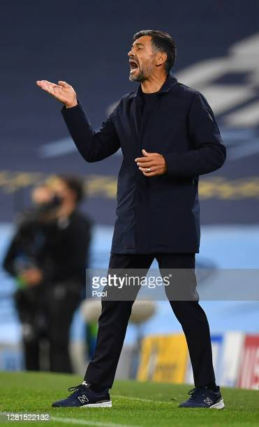 Sergio Conceicao, Manager of FC Porto reacts during the UEFA Champions League Group C stage match between Manchester City and FC Porto at Etihad...
