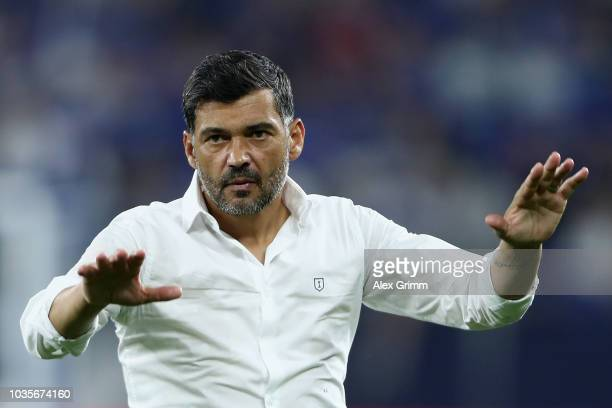 Sergio Conceicao manager of FC Porto shows appreciation to the fans after the Group D match of the UEFA Champions League between FC Schalke 04 and FC...