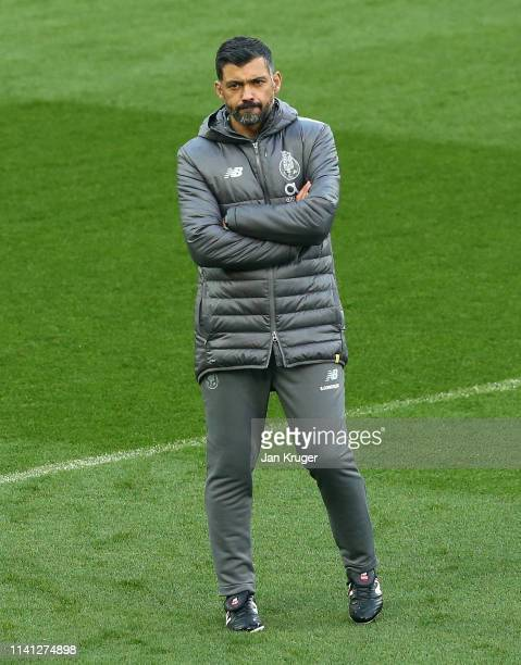 Sergio Conceicao manager of FC Porto watches his team train during the FC Porto Training Session ahead of there UEFA Champions League Quarter Final...