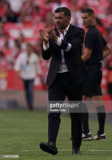 Sergio Conceicao of FC Porto in action during the Liga NOS match between SL Benfica and FC Porto at Estadio da Luz on August 24, 2019 in Lisbon,...