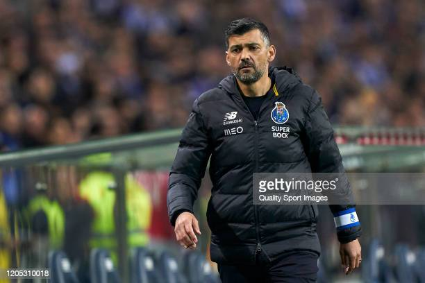 Sergio Conceicao the manager of FC Porto looks on during the Liga Nos match between FC Porto and SL Benfica at Estadio do Dragao on February 08, 2020...