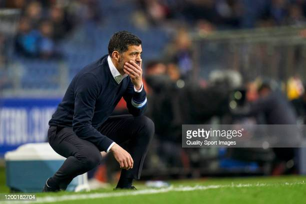 Sergio Conceicao the manager of FC Porto reacts during the Liga Nos match between FC Porto and SC Braga at Estadio do Dragao on January 17, 2020 in...