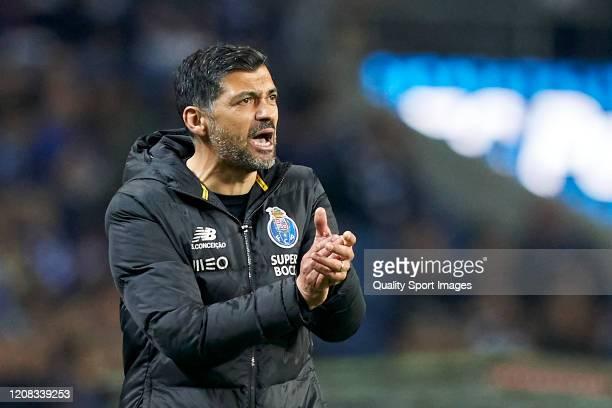 Sergio Conceicao the manager of FC Porto reacts during the Liga Nos match between FC Porto and Portimonense SC at Estadio do Dragao on February 23,...