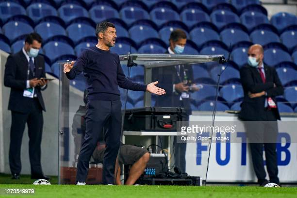 Sergio Conceicao the manager of FC Porto reacts during the Liga NOS match between FC Porto and SC Braga at Estadio do Dragao on September 19, 2020 in...