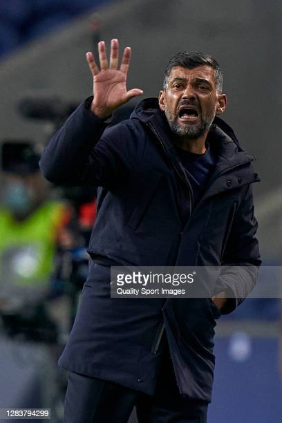 Sergio Conceicao the manager of FC Porto reacts during the UEFA Champions League Group C stage match between FC Porto and Olympique de Marseille at...