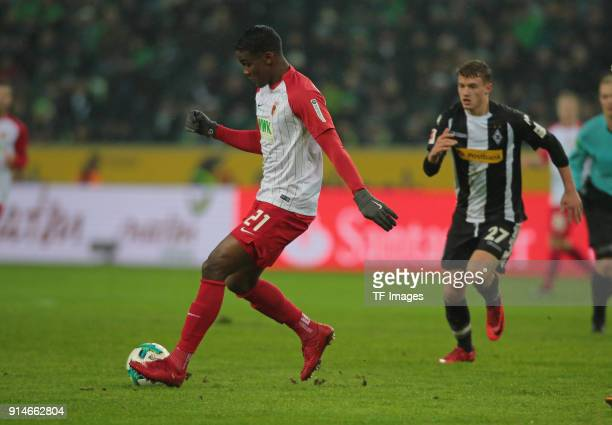 Sergio Cordova of Augsburg controls the ball during the Bundesliga match between Borussia Moenchengladbach and FC Augsburg at BorussiaPark on January...