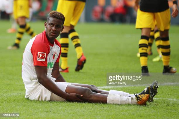 Sergio Cordova of Augsburg dejected after missing a chance during the Bundesliga match between FC Augsburg and Borussia Dortmund at WWKArena on...
