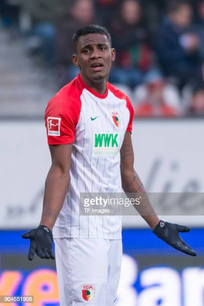 Sergio Cordova of Augsburg gestures during the Bundesliga match between FC Augsburg and Hamburger SV at WWKArena on January 13 2018 in Augsburg...