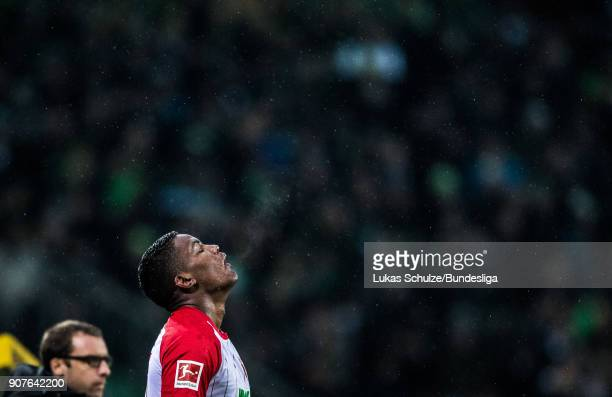 Sergio Cordova of Augsburg is focused during the Bundesliga match between Borussia Moenchengladbach and FC Augsburg at BorussiaPark on January 20...