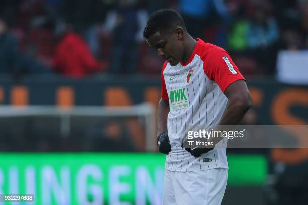 Sergio Cordova of Augsburg looks dejected during the Bundesliga match between FC Augsburg and TSG 1899 Hoffenheim at WWK Arena on March 03 2018 in...