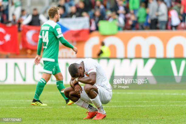 Sergio Cordova of FC Augsburg looks dejected after the Bundesliga match between FC Augsburg and SV Werder Bremen at WWKArena on September 22 2018 in...