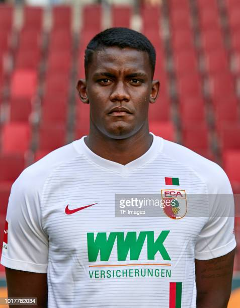 Sergio Cordova of FC Augsburg poses during the team presentation at WWK Arena on August 9 2018 in Augsburg Germany