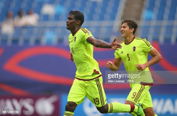 Sergio Cordova of Venezuela celebrates after scoring the second goal during the FIFA U20 World Cup Korea Republic 2017 group B match between...