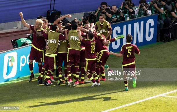 Sergio Cordova of Venezuela celebrates with team mates after scoring his teams first goal during the FIFA U20 World Cup Korea Republic 2017 group B...