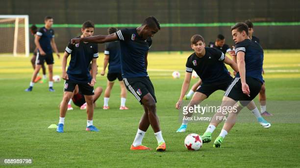 Sergio Cordova of Venezuela passes the ball during a training session at the Deokam Football Centre during the FIFA U-20 World Cup on May 27, 2017 in...