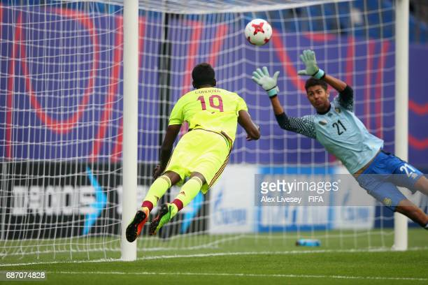 Sergio Cordova of Venezuela scores the second goal during the FIFA U20 World Cup Korea Republic 2017 group B match between Venezuela and Vanuatu at...