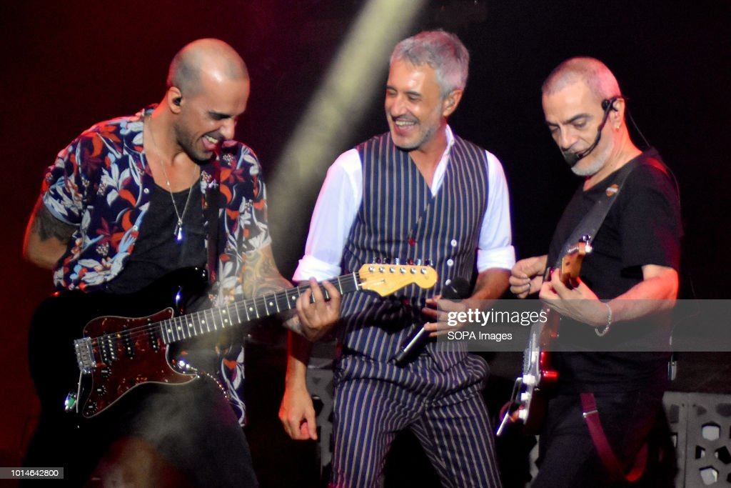 Sergio Dalma seen performing with his crew  Live Concert of Spanish