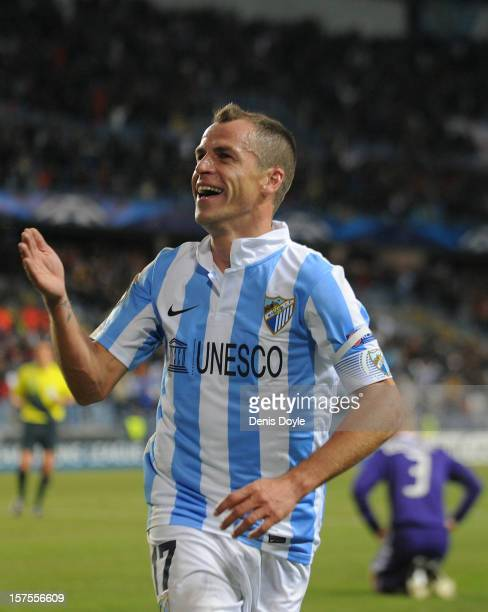 Sergio Duda of Malaga CF celebrates after scoring their second goal during the UEFA Champions League Group C match between Malaga CF and RSC...