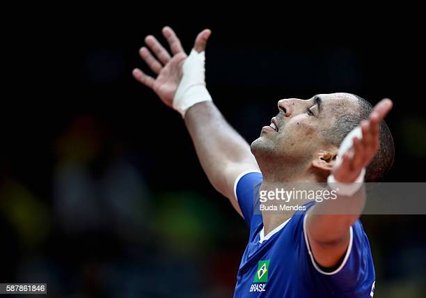 Sergio Dutra Santos of Brazil gestures during the men's qualifying volleyball match between the Brazil and Canada on Day 4 of the Rio 2016 Olympic...