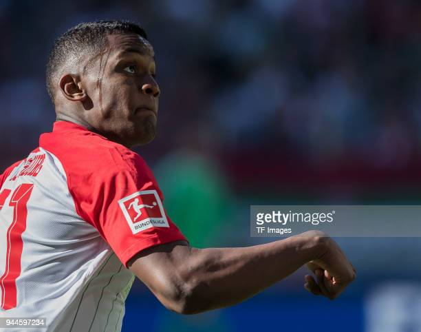 Sergio Duvan Cordova Lezama of Augsburg looks on during the Bundesliga match between FC Augsburg and FC Bayern Muenchen at WWKArena on April 7 2018...