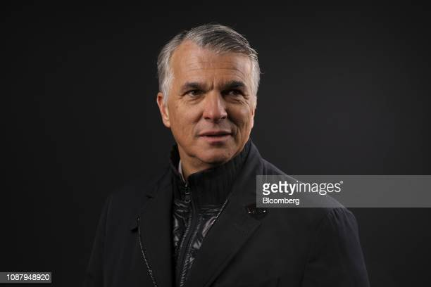 Sergio Ermotti chief executive officer of UBS AG poses for a photograph following a Bloomberg Television interview on day three of the World Economic...