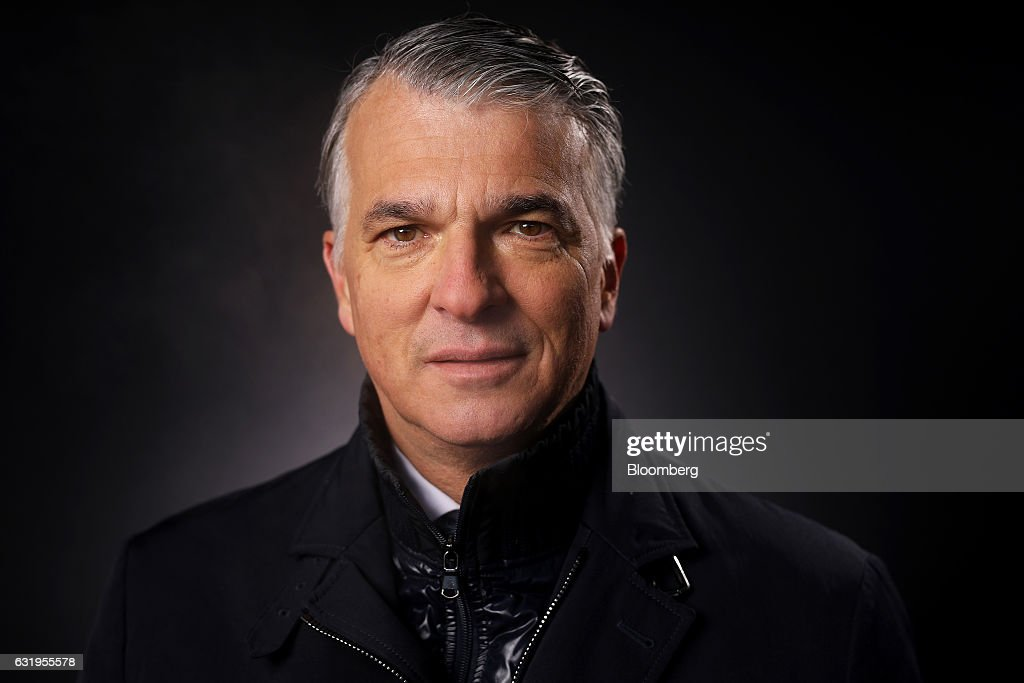 Sergio Ermotti, chief executive officer of UBS AG, poses for a photograph following a Bloomberg Television interview at the World Economic Forum (WEF) in Davos, Switzerland, on Wednesday, Jan. 18, 2017. World leaders, influential executives, bankers and policy makers attend the 47th annual meeting of the World Economic Forum in Davos from Jan. 17 - 20. Photographer: Simon Dawson/Bloomberg via Getty Images