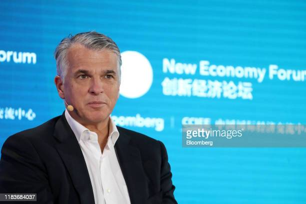 Sergio Ermotti, chief executive officer of UBS Group AG, attends a panel discussion at the Bloomberg New Economy Forum in Beijing, China, on...