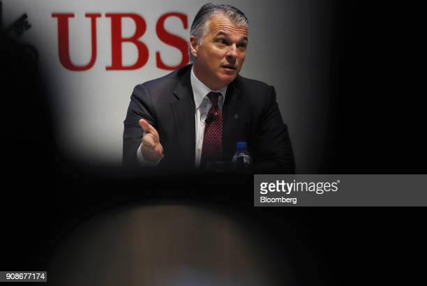 Sergio Ermotti chief executive officer of UBS Group AG gestures while speaking during a news conference as the worlds largest wealth manager...
