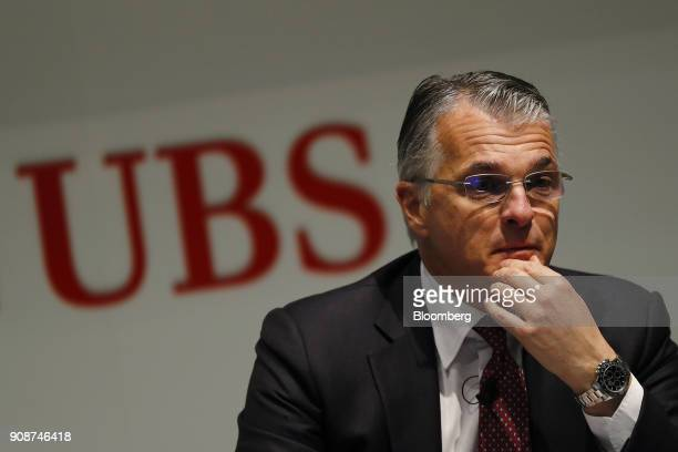 Sergio Ermotti chief executive officer of UBS Group AG pauses during a news conference as the worlds largest wealth manager announces full year...