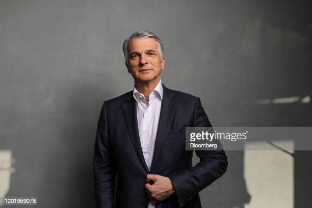 Sergio Ermotti chief executive officer of UBS Group AG poses for a photograph following a Bloomberg Television interview on day three of the World...