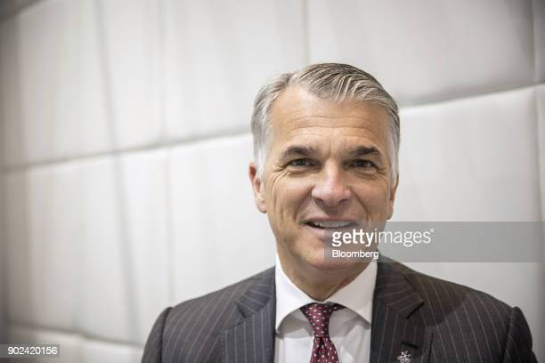 Sergio Ermotti chief executive officer of UBS Group AG poses for a photograph prior to a Bloomberg Television interview in Shanghai China on Monday...