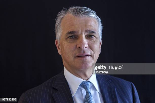 Sergio Ermotti chief executive officer of UBS Group AG poses for a photograph following a Bloomberg Television interview on the sidelines of the...