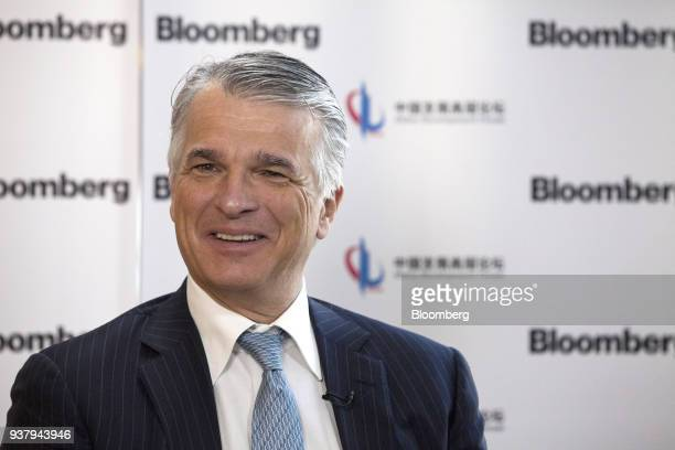 Sergio Ermotti chief executive officer of UBS Group AG speaks during a Bloomberg Television interview on the sidelines of the China Development Forum...