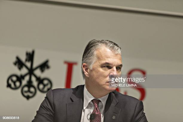 Sergio Ermotti the CEO of Swiss banking giant UBS addresses the annual results news conference on January 22 2018 in Zurich Swiss banking giant UBS...