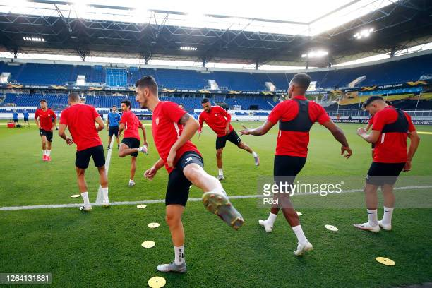Sergio Escudero and team mates stretch during a Sevilla Training Session And Press Conference at MSV Arena on August 05 2020 in Duisburg Germany
