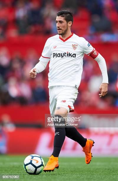 Sergio Escudero of Sevilla CF controls the ball during the La Liga match between Sevilla CF and Athletic Club at Estadio Ramon Sanchez Pizjuan on...