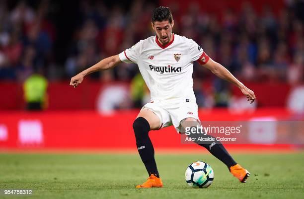 Sergio Escudero of Sevilla FC in action during the La Liga match between Sevilla and Real Sociedad at Estadio Ramon Sanchez Pizjuan on May 4 2018 in...