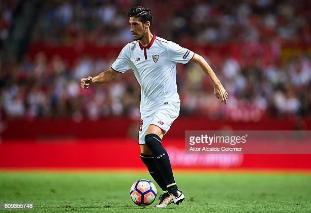 Sergio Escudero of Sevilla FC in action during the match between Sevilla FC vs Real Betis Balompie as part of La Liga at Estadio Ramon Sanchez...